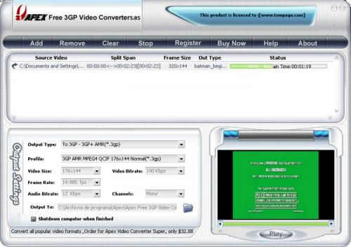 Free 3GP Video Converter 3.2.2.57 - T�l�charger 3.2.2.57